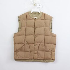 70s Mens Small Down Fill Quilted Puffer Vest Brown
